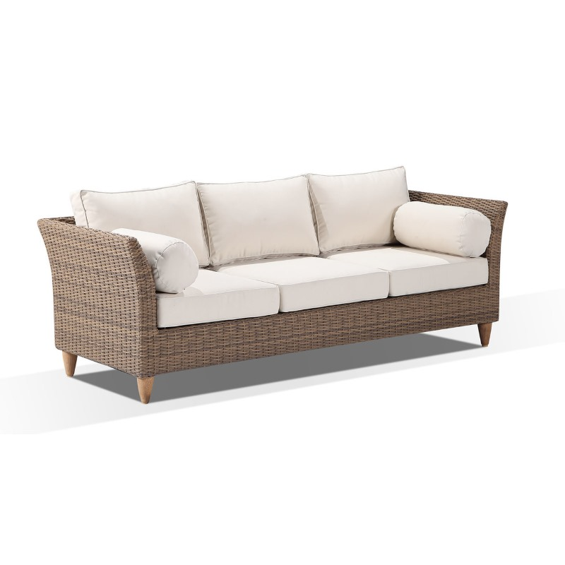 carolina outdoor 3 seat wicker sofa lounge in wheat buy outdoor sofas 179085. Black Bedroom Furniture Sets. Home Design Ideas