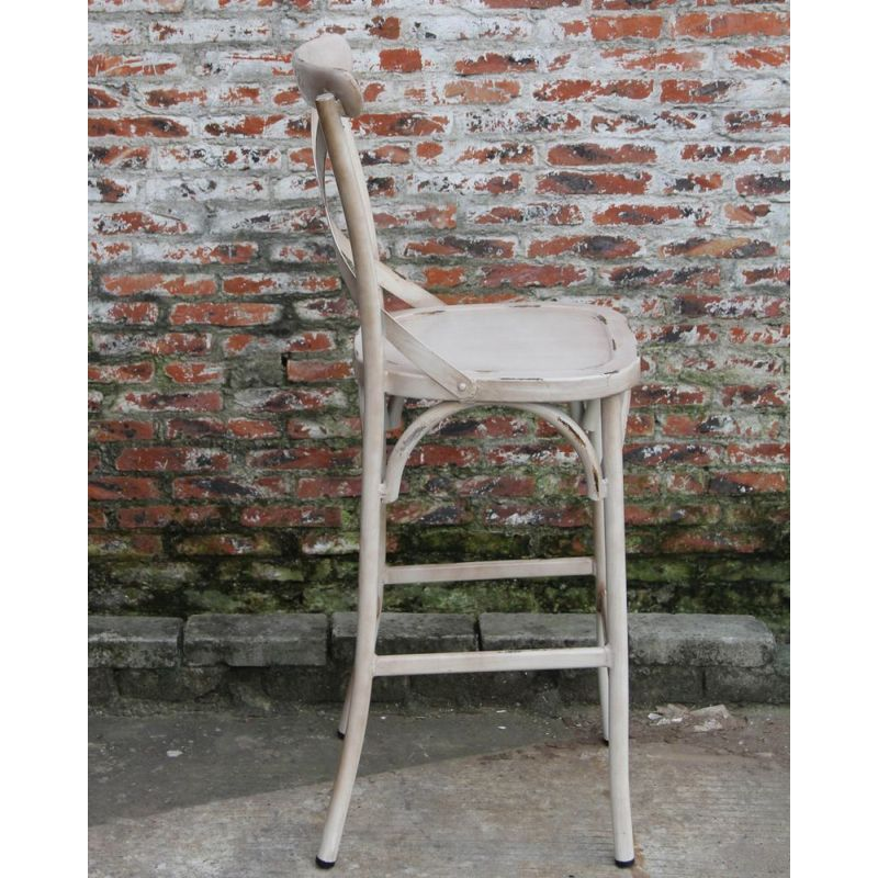 French Cross Back Steel Bar Stool In Antique Creme Buy