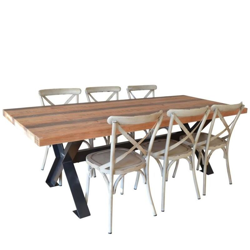 Industrial Dining Table W X Base 8 Chairs Buy Dining Sets