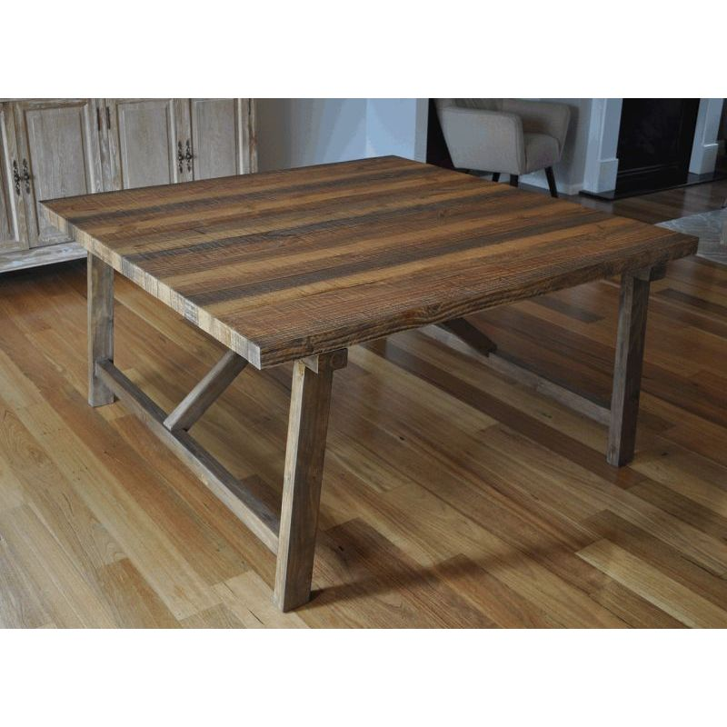Where To Buy Dining Tables: Farmhouse Rustic Timber Square Dining Table 1.5m