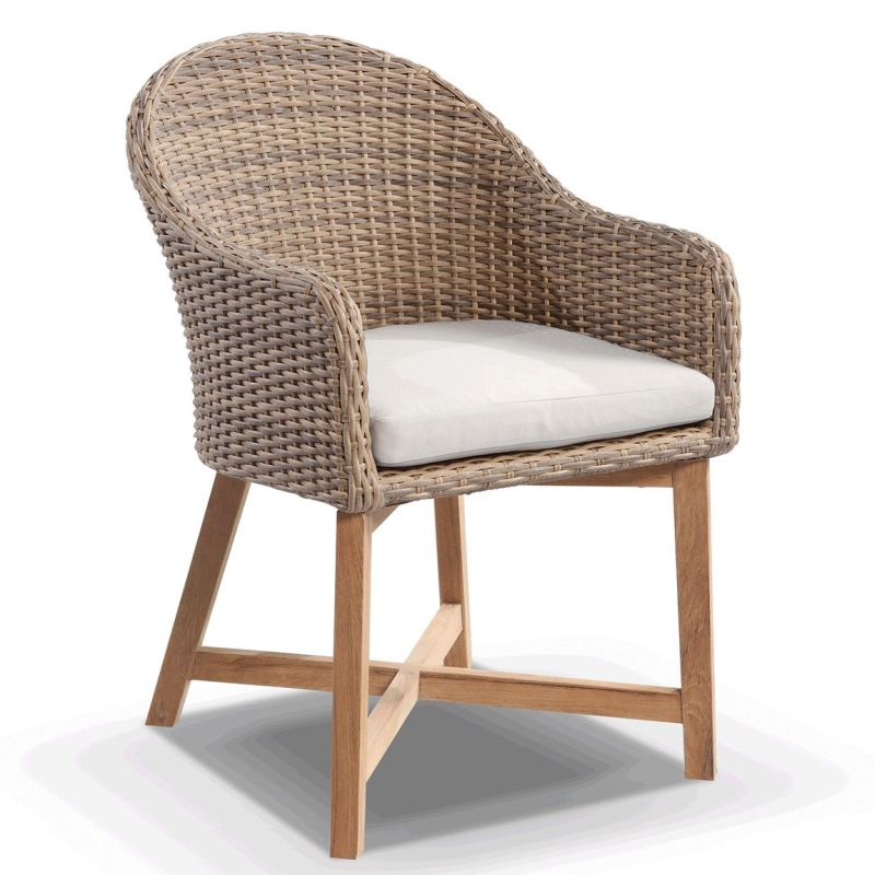 Incredible Coastal Wicker Teak Outdoor Dining Chair In Wheat Home Remodeling Inspirations Cosmcuboardxyz