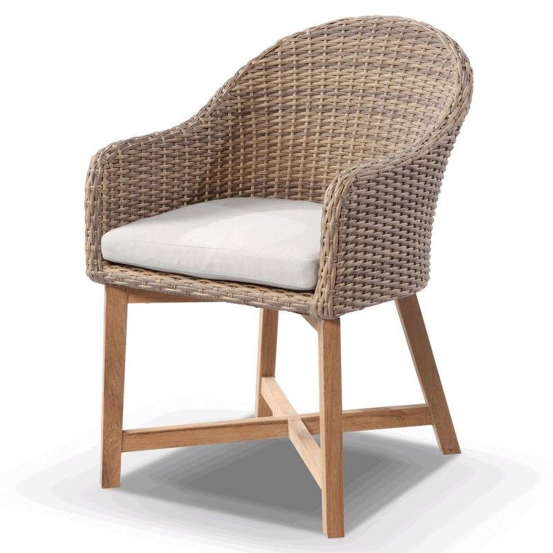 Buy Dining Chair: Coastal Wicker & Teak Outdoor Dining Chair In Wheat