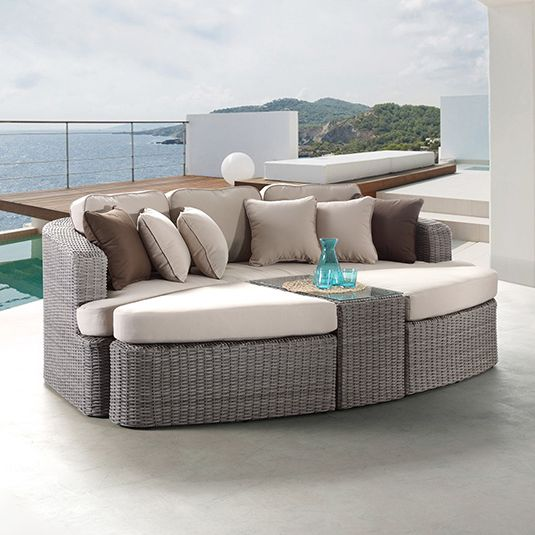 Noosa outdoor day bed sofa lounge in brushed grey buy for Outdoor furniture noosa