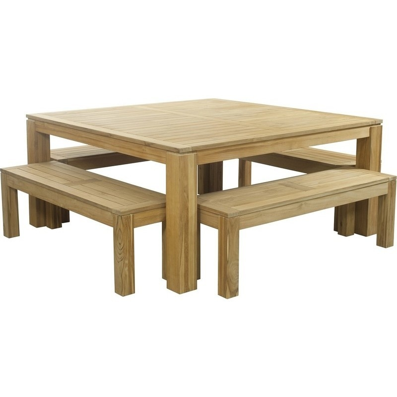 Square Dining Table With Bench: Entertainer Square Outdoor Table W/ 4 Benches 1.7m