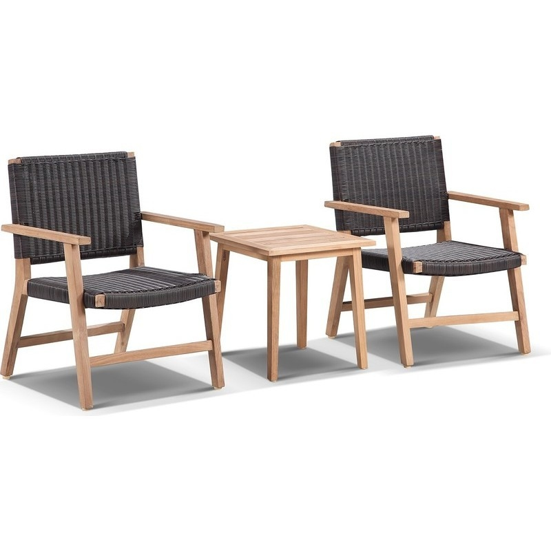 Hamilton 2 Seat Timber U0026 Wicker Outdoor Lounge Set