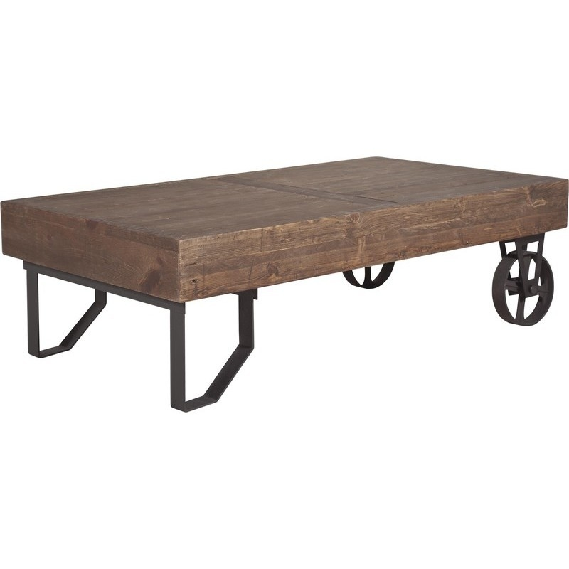 Trolley Coffee Table.Stonemill Hudson Industrial Rustic Trolley Coffee Table