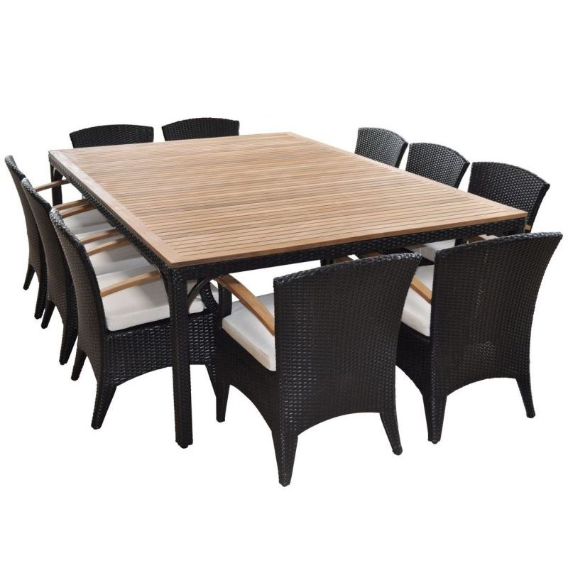 Dining Set For 10: Kai Outdoor 10 Seat Wicker Dining Set In Charcoal