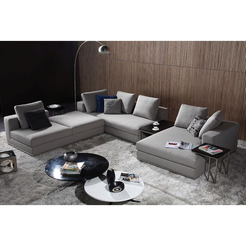 Como Fabric Chaise Sofa Lounge Set w/ Table in Grey | Buy