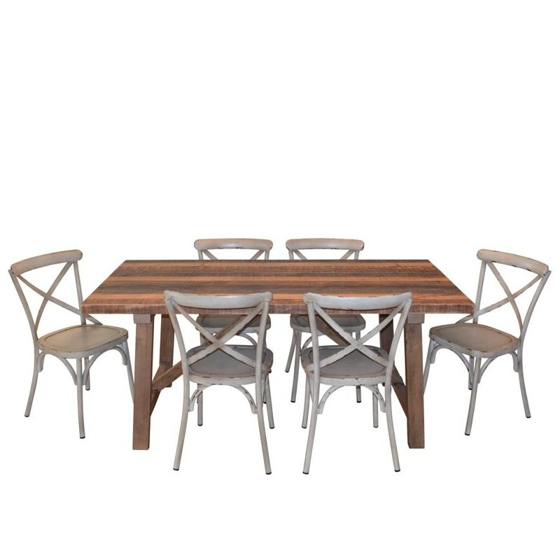 Buy Dining Table Set: 1.83m Industrial Dining Table + 6 Cross Back Chairs