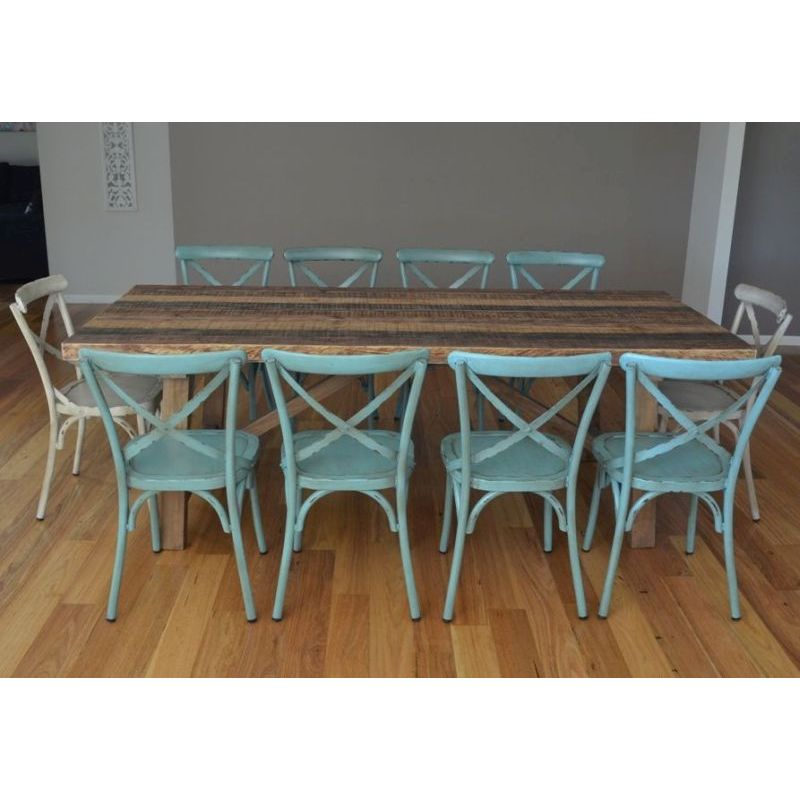Industrial Dining Table 8 Cross Back Chairs Buy Dining Sets