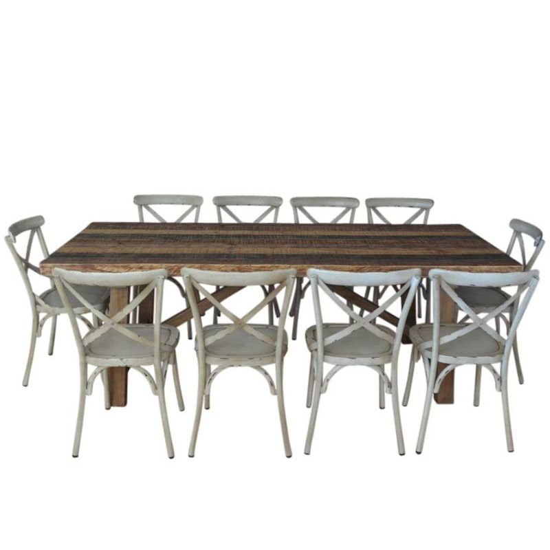 Industrial Dining Table 10 Crossback Chairs Buy SALE