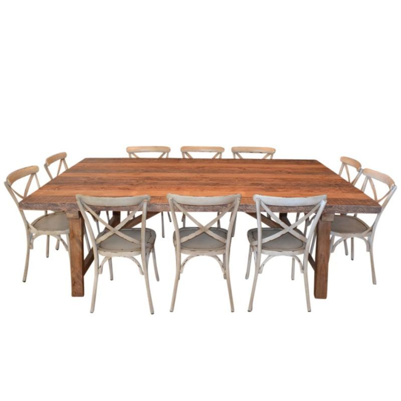 Industrial dining table 10 cross back chairs buy for 11 piece dining table set