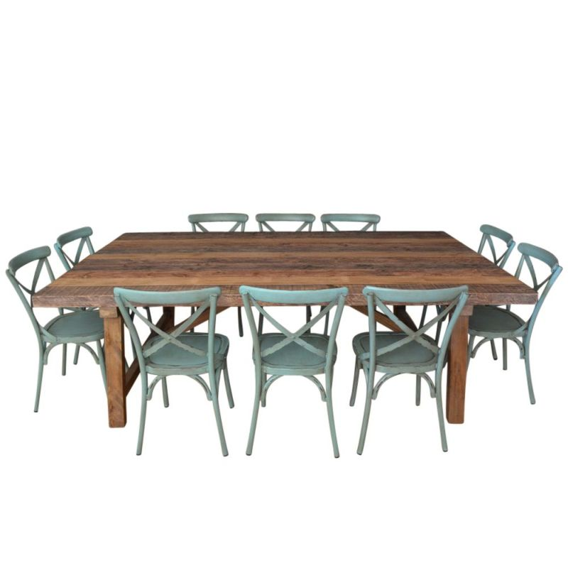 25m Industrial Dining Table 10 Cross Back Chairs Buy  : 40701 from www.mydeal.com.au size 800 x 800 jpeg 77kB