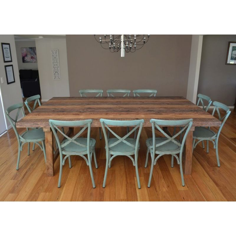 Industrial dining table 10 cross back chairs buy for 11 piece dining table