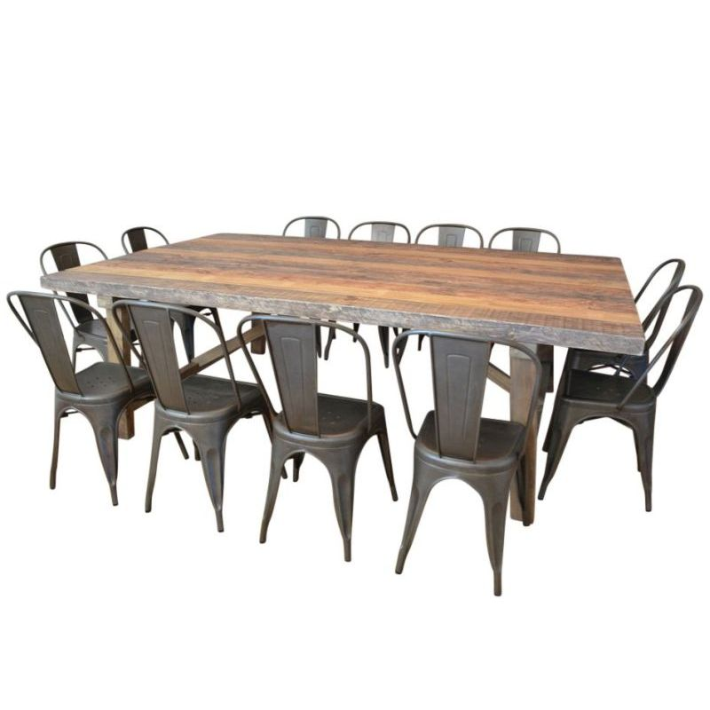 Wooden dining table w 12 replica tolix chairs buy for 13 piece dining table set
