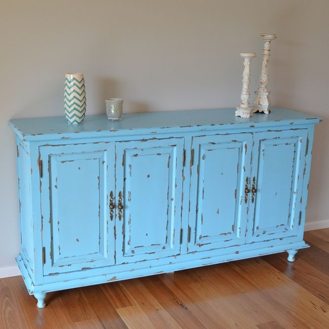 Rustic kitchen buffet sideboard in vintage blue buy for Küchenbuffet vintage