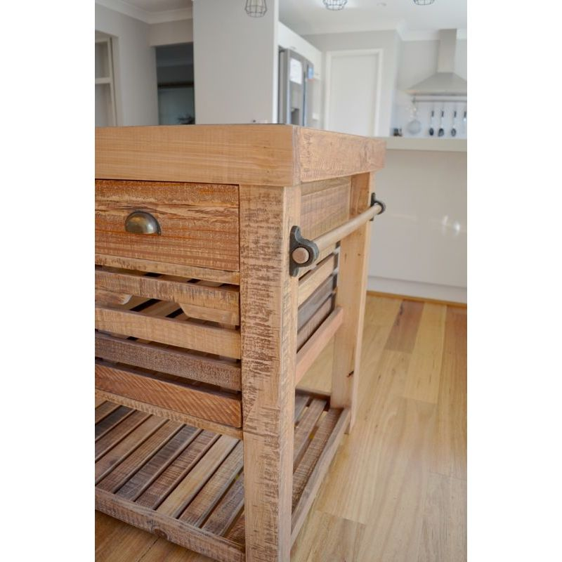 Recycled Timber Portable Kitchen Island W 6 Drawer Buy