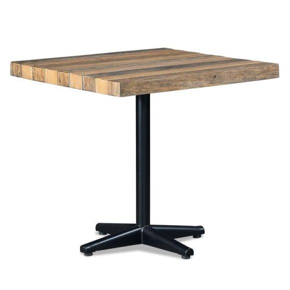 Industrial recycled timber square dining table buy for Square industrial dining table