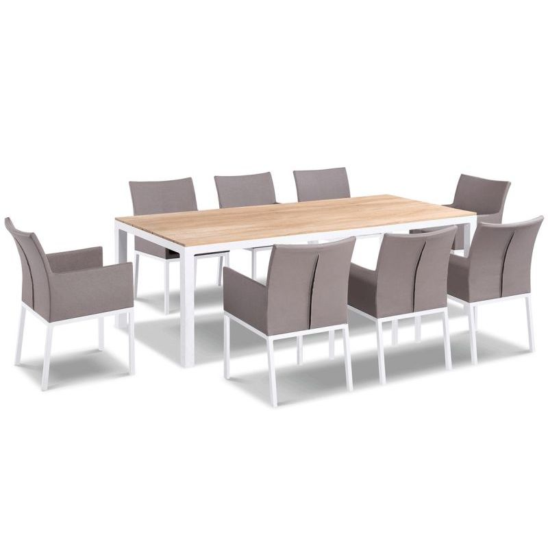tuscany outdoor 8 seat dining set in grey textilene buy 8 seat dining sets 179635. Black Bedroom Furniture Sets. Home Design Ideas
