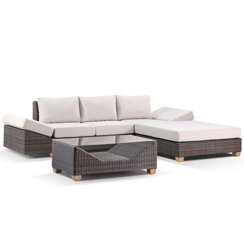 Anantara outdoor modern lounge set w chaise brown buy for Buy outdoor chaise lounge