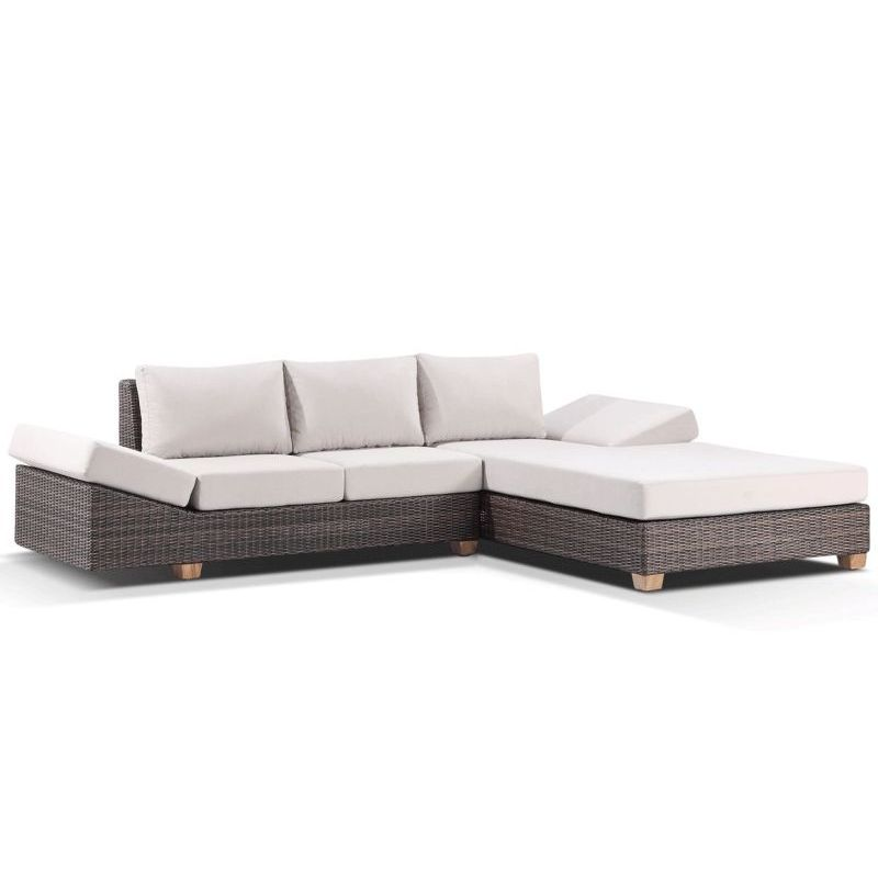 Anantara outdoor modern lounge set w chaise brown buy for Brown chaise lounge outdoor