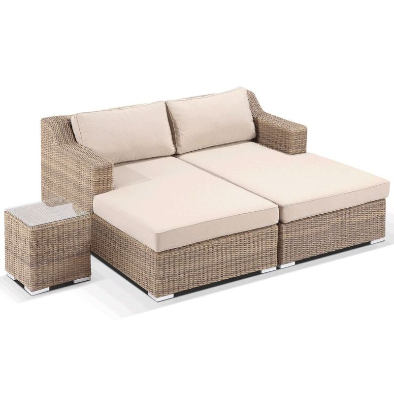 Milano outdoor day bed chaise lounge set in wheat buy outdoor day beds 179597 - Sofa bed with chaise lounge ...