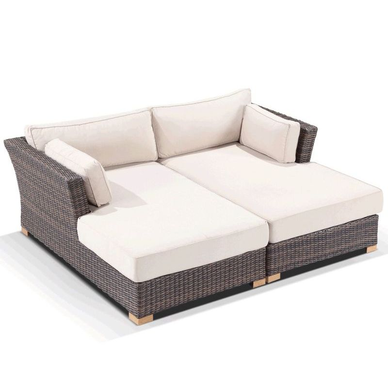 Outdoor Furniture Beds: Coco Outdoor Wicker Day Bed Sofa Lounge Set Brown