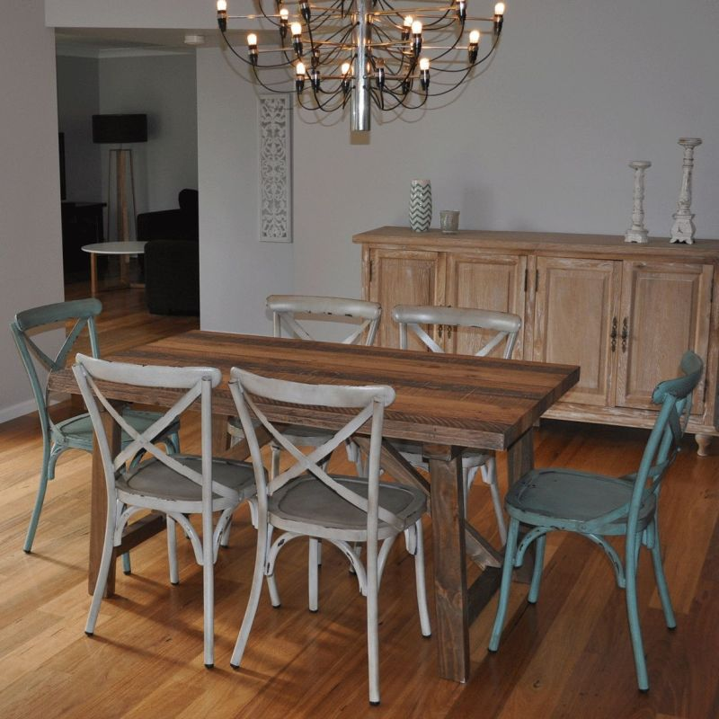 industrial dining table furniture. 1.5m industrial dining table w/ 6 cross back chairs furniture