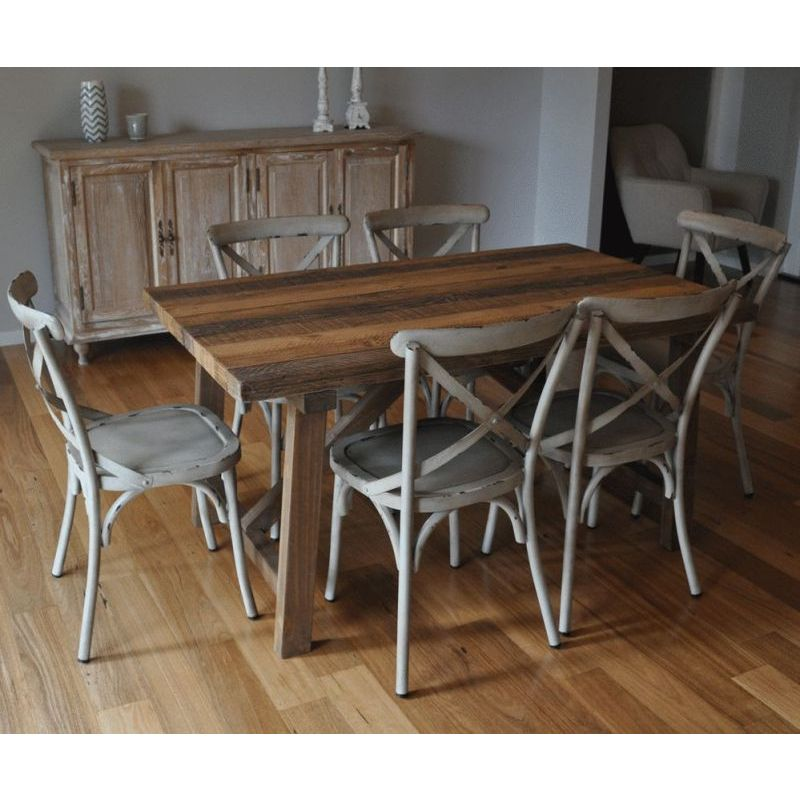 Industrial Dining Table W 6 Cross Back Chairs Buy SALE