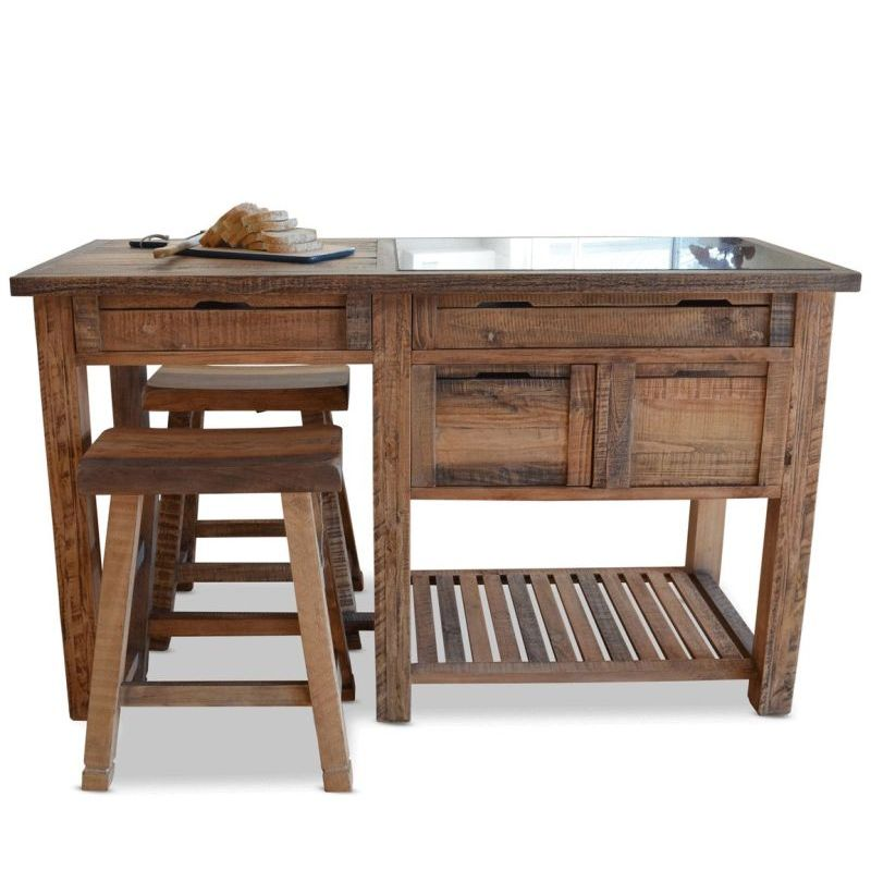 Rustic Kitchen Islands For Sale: Reclaimed Timber & Marble Kitchen Island W/ Stools