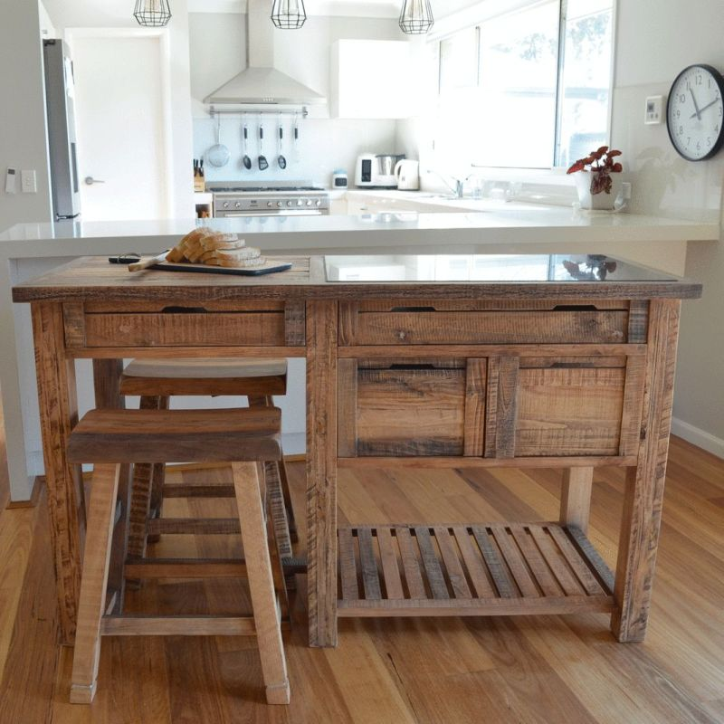 Small Movable Kitchen Island For Sale Thinc Technology: Reclaimed Timber & Marble Kitchen Island W/ Stools
