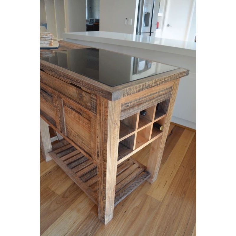 Reclaimed Timber Amp Marble Kitchen Island W Stools Buy