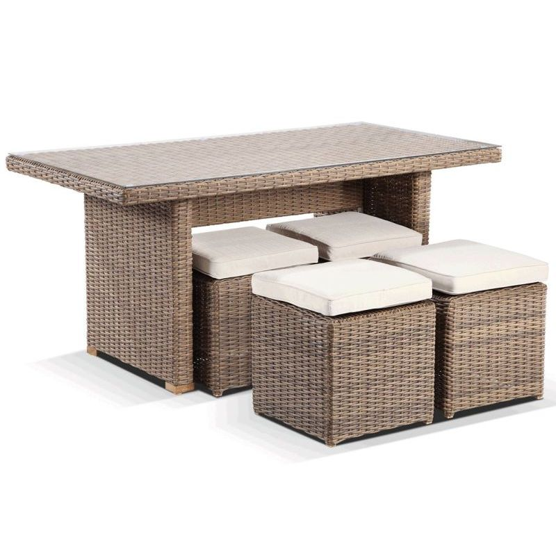 Small 4 seat wicker outdoor dining table set wheat buy 4 for Small 4 seater dining table