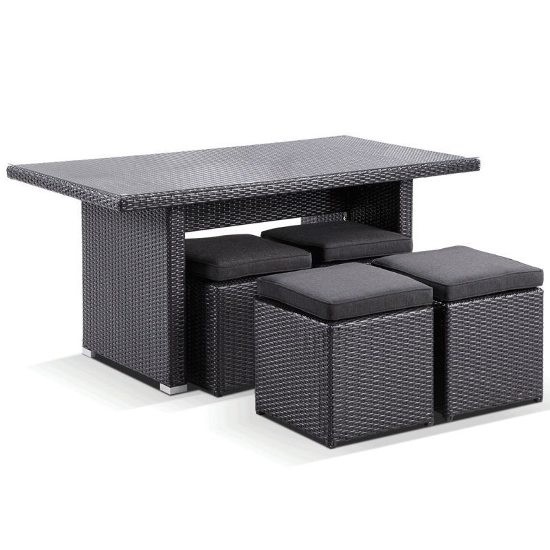 Small Dining Table For 4: Small Outdoor 4 Seat Dining Table Set In Charcoal