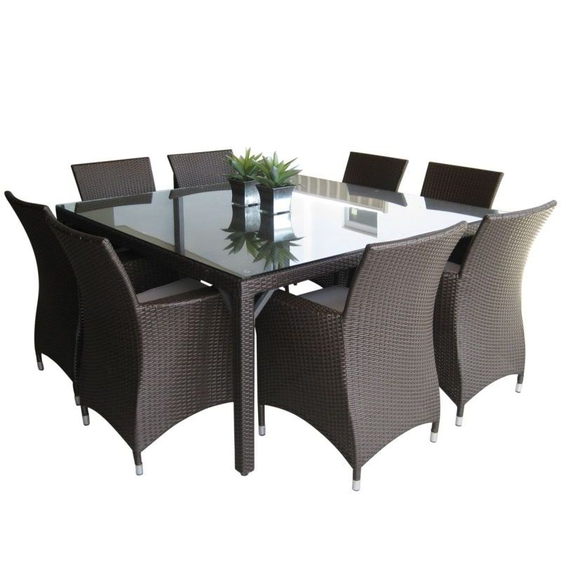 roman outdoor square 8 seat dining set in coffee buy 8 seat dining sets 179670. Black Bedroom Furniture Sets. Home Design Ideas
