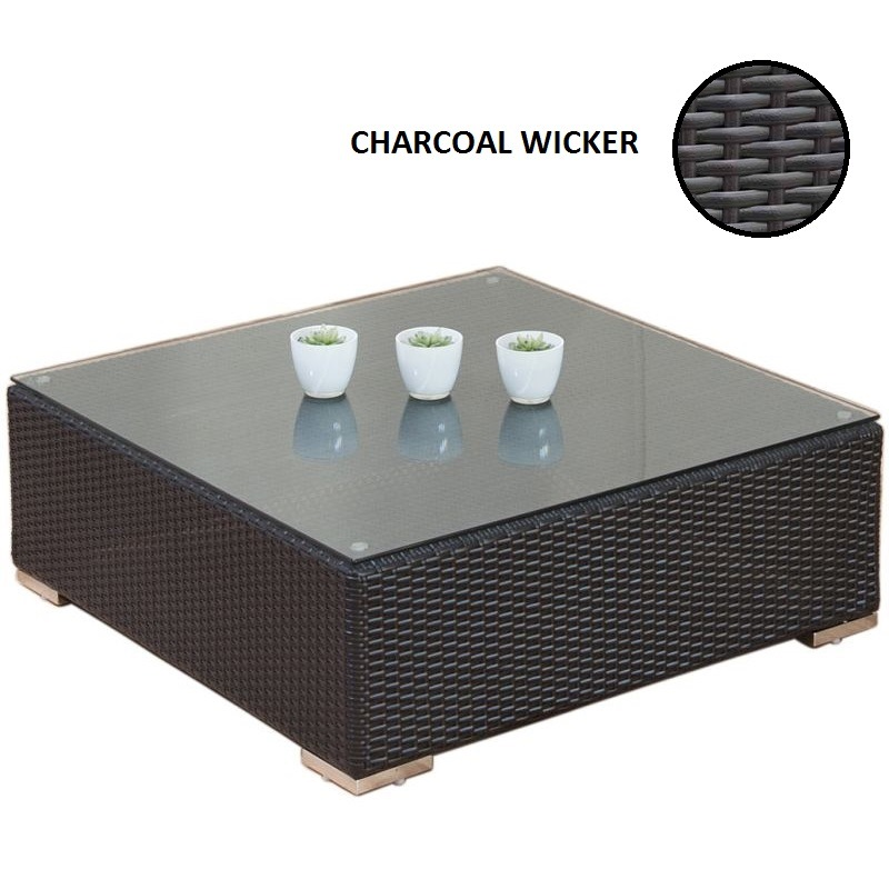 square outdoor wicker glass coffee table charcoal buy outdoor