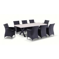 Sicillian Outdoor Stone 8 Seat Dining Set Charcoal