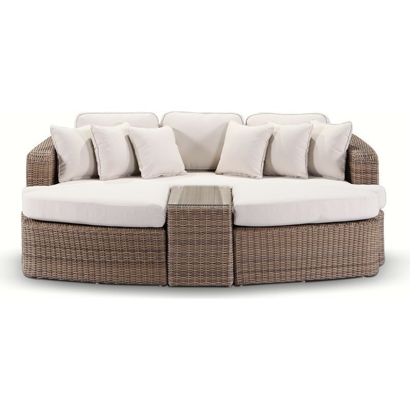 Outdoor Furniture Beds: Noosa Outdoor Wicker Day Bed Sofa In Wheat & Cream