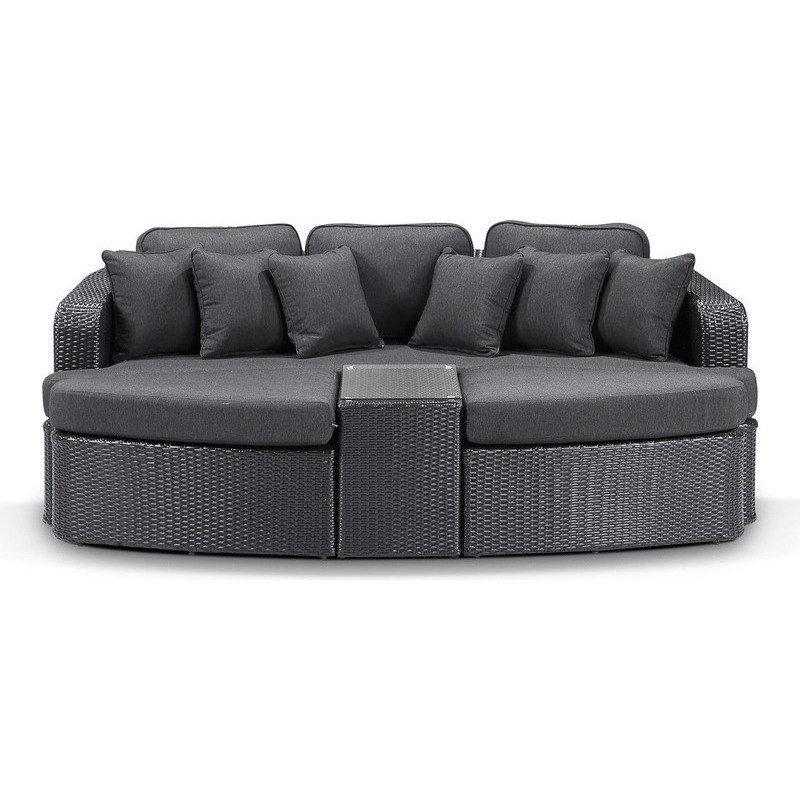 Outdoor Furniture Beds: Noosa Outdoor Wicker Day Bed In Charcoal & Grey