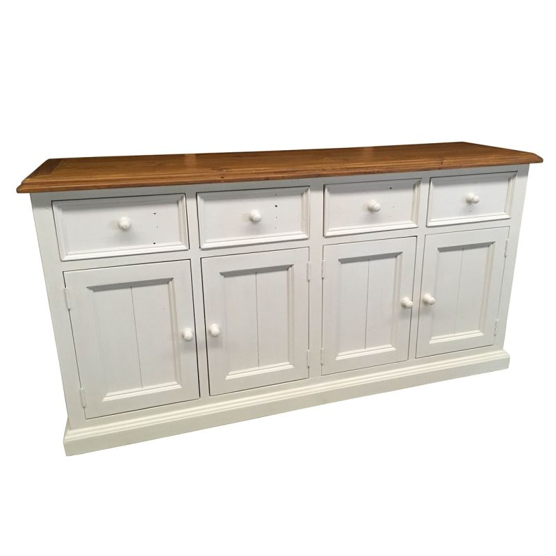 White Kitchen Buffet: Bordeaux Timber Sideboard Buffet Distressed White