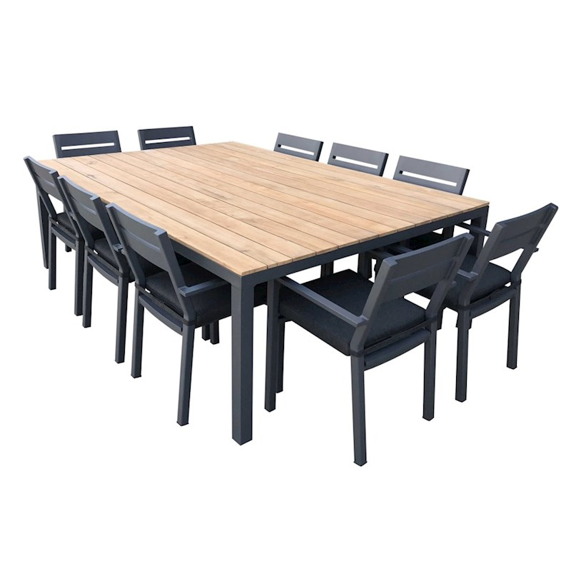 Tuscany 10 Seater Outdoor Dining Setting With Capri Dining Chairs In Charcoal Aluminium