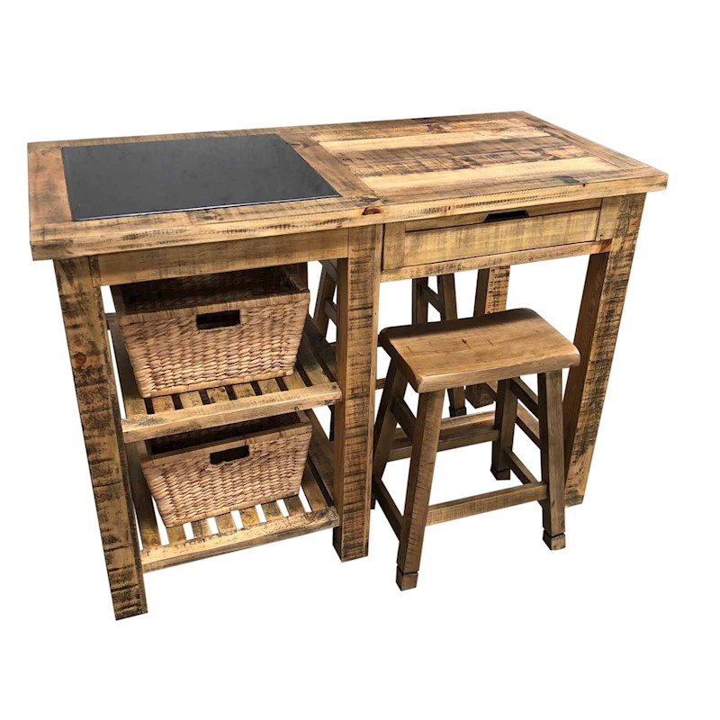 Add Your Kitchen With Kitchen Island With Stools: Rustic Kitchen Island Bench With Shelves & Stools