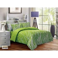 Green Tree Super King Polyester Quilt Cover Set