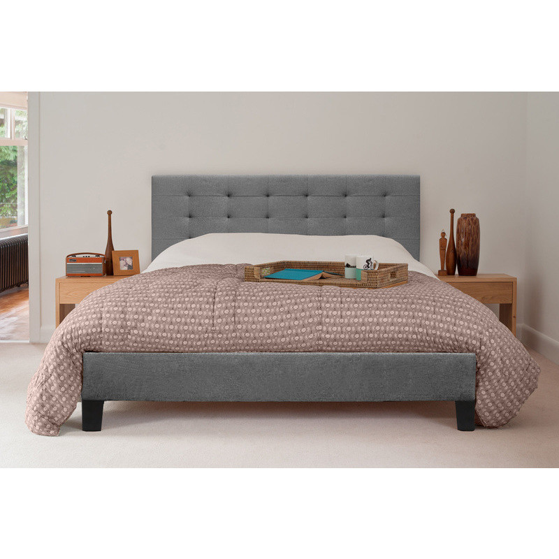 Kensington Queen Size Fabric Bed Frame in Grey | Buy Queen Bed Frame