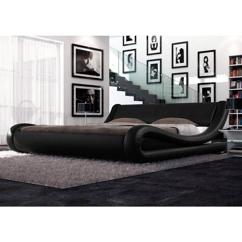 Leonardo Queen PU Leather Curved Bed Frame in Black Buy Queen