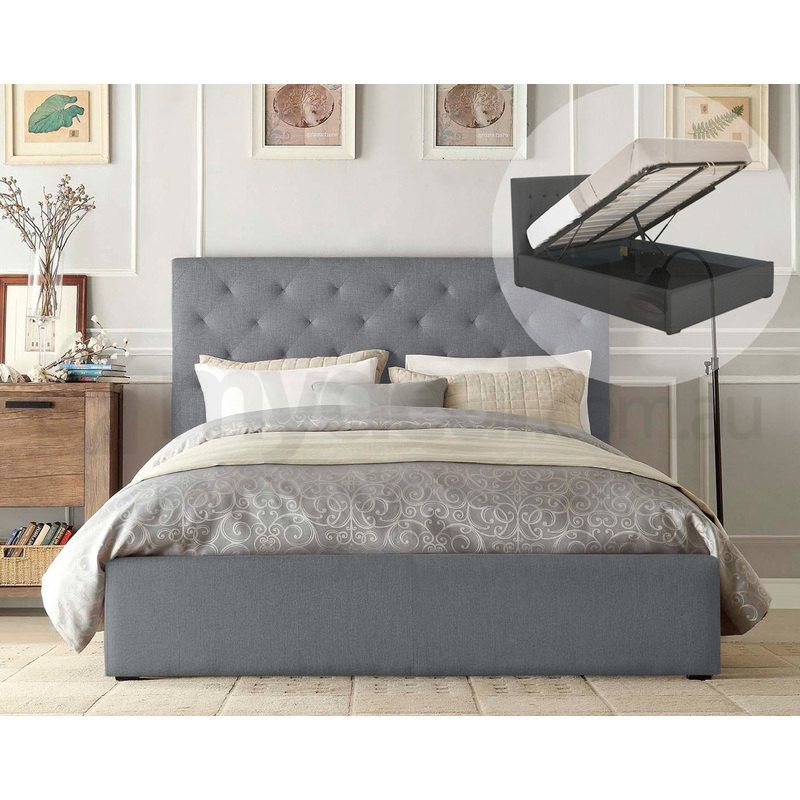 Marco Queen Size Gas Lift Fabric Bed Frame In Grey Buy