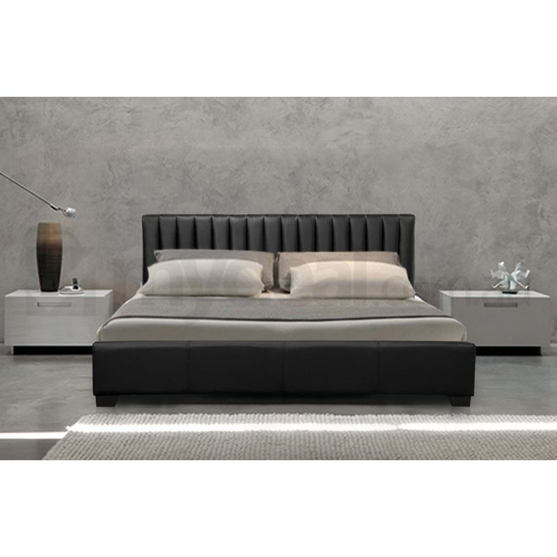 Monaco King Size Faux Leather Bed Frame In Black
