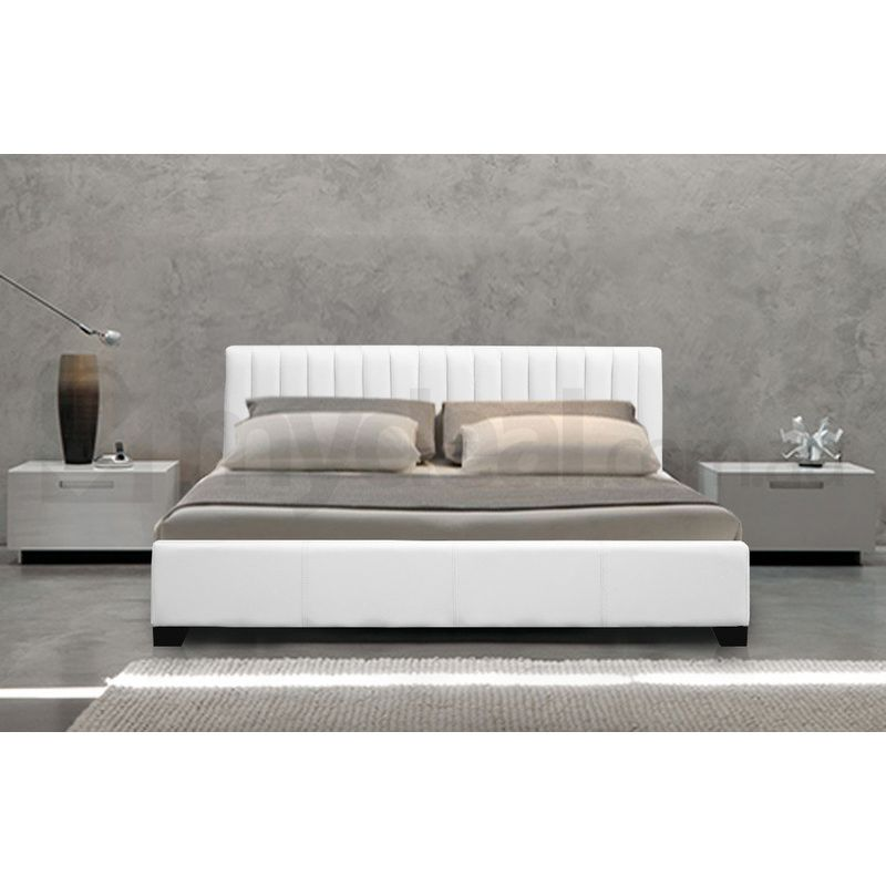 Monaco Queen Size Faux Leather Bed Frame In White Buy Queen Bed