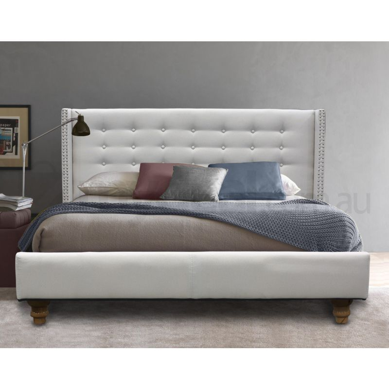 Mayfair queen fabric stud tufted bed frame in white buy for Studded bed frame