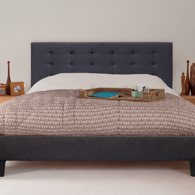 Kensington Queen Size Fabric Bed Frame in Charcoal | Buy Queen Bed Frame